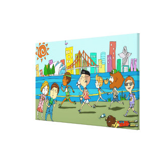 TV reporters with mikes at sports race Canvas Print