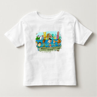 TV reporters with mikes at sports race Toddler T-shirt