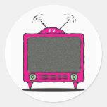 tv /  television icon classic round sticker