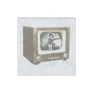 TV Television Set Retro Vintage Drawing Stone Magnet