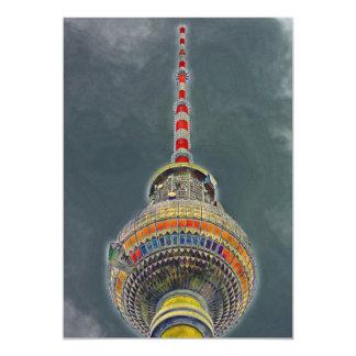 Tv Tower (Fernsehturm), Berlin, Art Effect 5x7 Paper Invitation Card