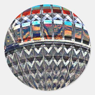 Tv Tower (Fernsehturm), Berlin,Colour (tv12emb) Classic Round Sticker