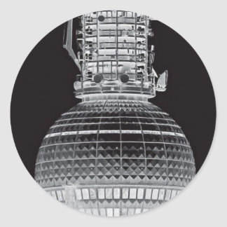 Tv Tower (Fernsehturm), Berlin,Grey (tv14bw) Classic Round Sticker