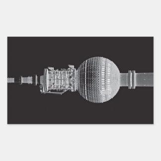 Tv Tower (Fernsehturm), Berlin,Grey (tv14bw) Rectangular Sticker