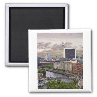 Tv Tower (Fernsehturm), Berlin, Panoramic(tv11pst) 2 Inch Square Magnet