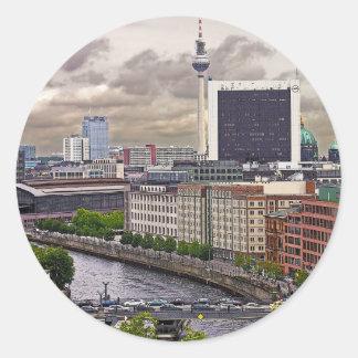 Tv Tower (Fernsehturm), Berlin, Panoramic(tv11pst) Classic Round Sticker