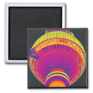 Tv Tower (Fernsehturm), Berlin, Rainbow Colour (tv 2 Inch Square Magnet
