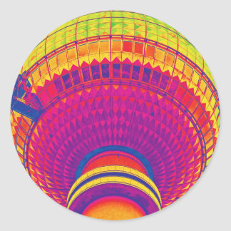 Tv Tower (Fernsehturm), Berlin, Rainbow Colour (tv Classic Round Sticker