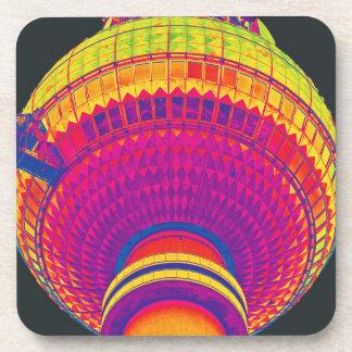 Tv Tower (Fernsehturm), Berlin, Rainbow Colour (tv Drink Coaster