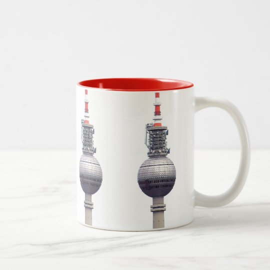 Tv Tower (Fernsehturm), Berlin,Red (tv14) Two-Tone Coffee Mug
