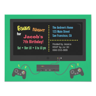 TV Video Game Night Party Invitations