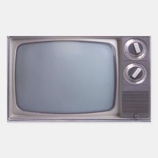 TV vieja Pegatina Rectangular