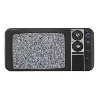 TV vieja retra con la cubierta estática de la caja iPhone 5 Funda