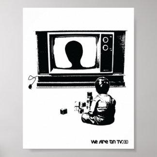 TV y niño Póster