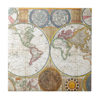TVBM TRAVEL MAPS HISTORY PIRATE BROWNS CREAMS DIRE SMALL SQUARE TILE