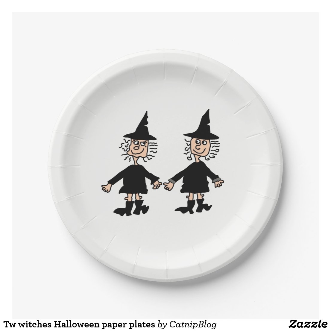 Tw witches Halloween paper plates