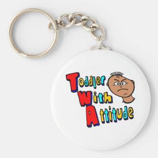 TWA - Niño con actitud con la cabeza del niño Llavero Redondo Tipo Pin