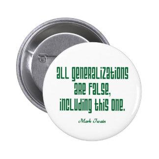 Twain en generalizaciones pin redondo de 2 pulgadas