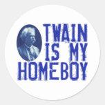 Twain es mi Homeboy Pegatina Redonda