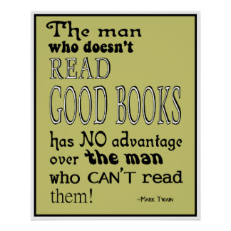 Twain's Read Good Books Quote Poster in Mustard