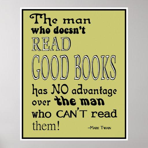 twain 39 s read good books quote poster in mustard zazzle