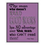 Twain's Read Good Books Quote Poster in Purple