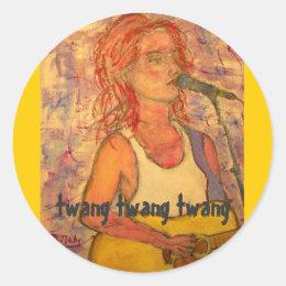 twang twang twang songstress classic round sticker
