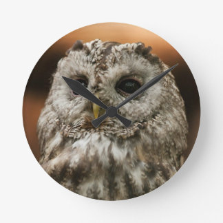 Twany Owl Round Clock