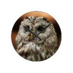 Twany Owl Round Wallclocks