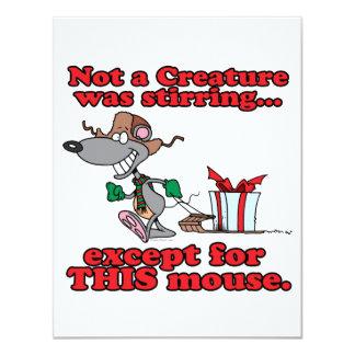 twas el dibujo animado del ratón del navidad de la invitación 10,8 x 13,9 cm