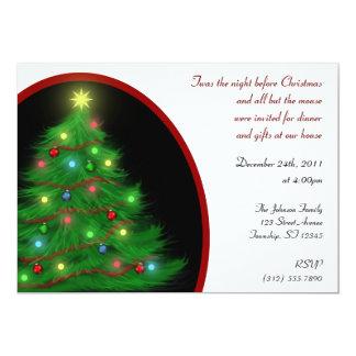 """""""Twas invitaciones del árbol"""" del navidad de la Invitación 5"""" X 7"""""""