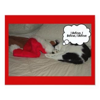 Twas la noche antes del gatito del navidad invitación 10,8 x 13,9 cm