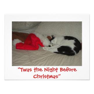 Twas la noche antes del gatito del navidad invitaciones personalizada