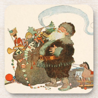 Twas the Night Before Christmas Old St Nick Pipe Drink Coaster