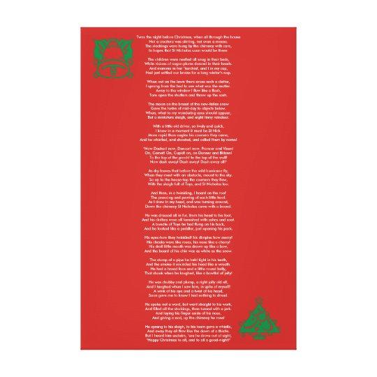Night Before Christmas Poem Canvas