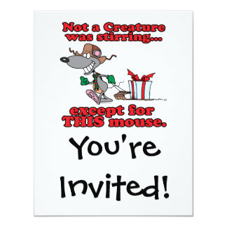 twas the night christmas mouse cartoon 4.25x5.5 paper invitation card