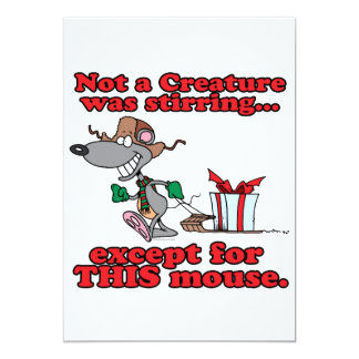 twas the night christmas mouse cartoon 5x7 paper invitation card
