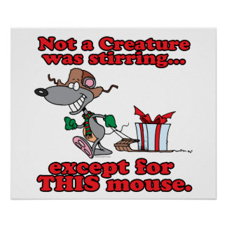 twas the night christmas mouse cartoon poster