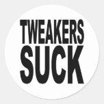 Tweakers chupa pegatina redonda