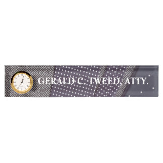 Tweed and silk name plate