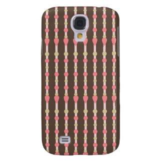 Tweed herringbone brown & pink pattern samsung galaxy s4 case