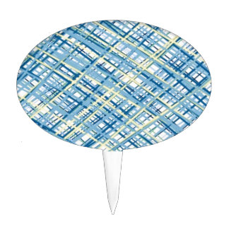 Tweed texture blue and yellow sophisticate case oval cake pick