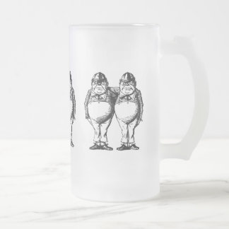 Tweedle Dee and Tweedle Dum Frosted Glass Beer Mug