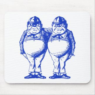 Tweedle Dee and Tweedle Dum Inked Blue Mouse Pad