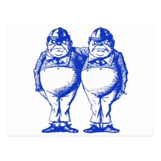Tweedle Dee and Tweedle Dum Inked Blue Postcard