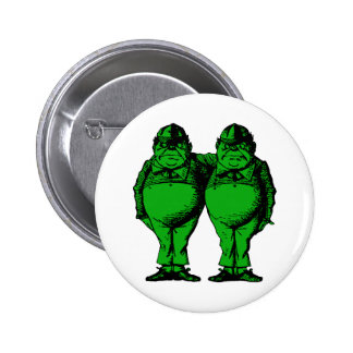 Tweedle Dee and Tweedle Dum Inked Green Fill Pinback Button