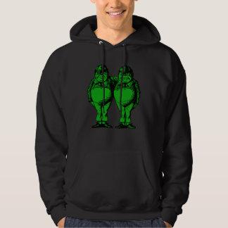 Tweedle Dee and Tweedle Dum Inked Green Fill Hoodie