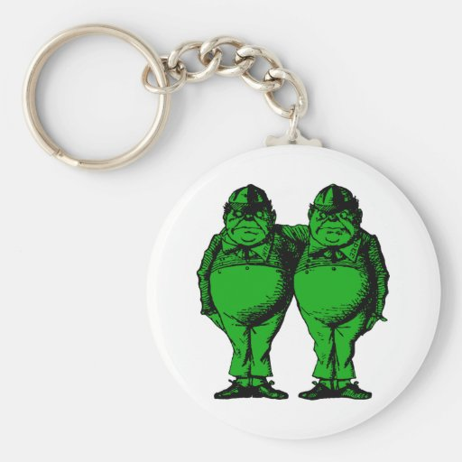 Tweedle Dee and Tweedle Dum Inked Green Fill Keychain