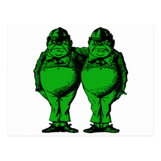 Tweedle Dee and Tweedle Dum Inked Green Fill Postcard