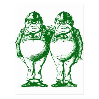 Tweedle Dee and Tweedle Dum Inked Green Postcard